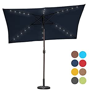 Sundale Outdoor Rectangular Solar Powered 26 LED Lighted Patio Umbrella Table Market Umbrella with Crank and Push Button Tilt for Garden, Deck, Backyard, Pool, 6 Alu. Ribs, 9 by 6.5-Feet (Navy Blue)