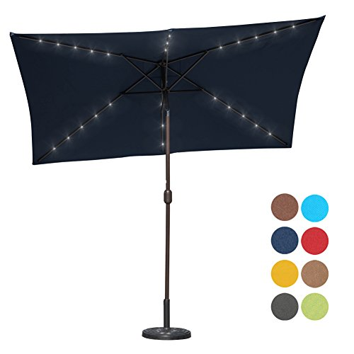 Sundale Outdoor Rectangular Solar Powered 26 LED Lighted Patio Umbrella Table Market Umbrella wi ...