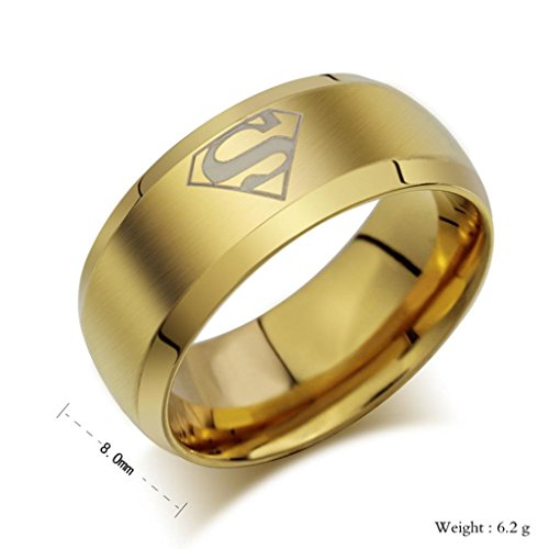 MoAndy Jewelry Stainless Steel Classical Superman Men's Band Rings,US Size 10