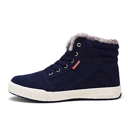 VILOCY Men's Warm Suede Leather Snow Boot Fur Lined Lace Up Ankle (Lace Up Lined Sneakers)