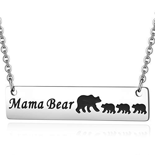 MIXJOY Sweet Family Mama Baby Bear Bar Necklace with 3 Cubs for Mother New Mom Mothers Day Jewelry Triplets Mom Gifts