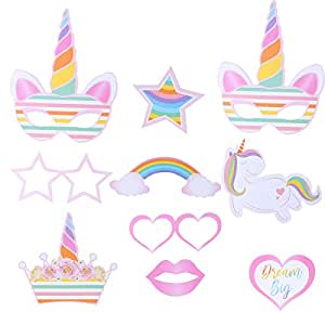 OULII 10pcs Photocall Cumpleaños Unicornio Accesorios Decoración Cumpleaños Arco Iris