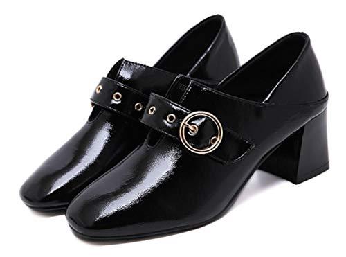 Damen 5 cm Casual Künstliche Chunky Leder Heel Sport Herbst Shiney Schuhe PU 5 Optional Bequeme Black HdBqwn