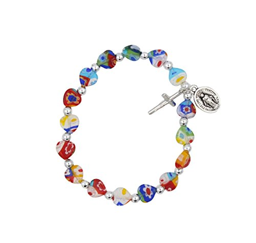 Crucifix Heart Bracelet - Christian Living Multi Color Glass Heart Shaped Bead Stretch Bracelet with Miraculous Medal and Crucifix