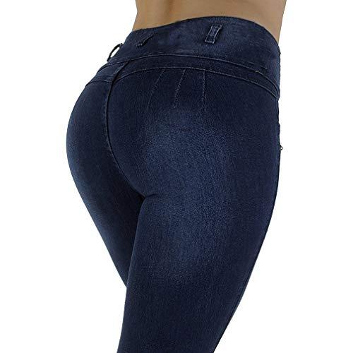Ajustado Estilos Múltiples Butt Sólido Señoras Tibetano Pantalones Pantalones S 2Xl Pantalones Pies Pequeños Simple Moda Azul Alta Mujer Elasticidad Color Sexy Rise 0311 Cintura dAAn0wTU