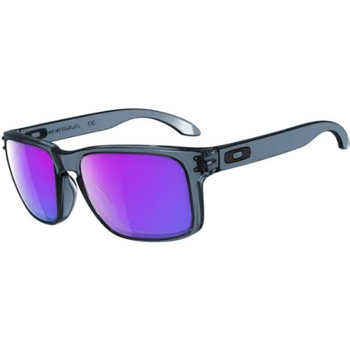 Oakley Holbrook Sunglasses - Oakley Men's Lifestyle Rectangular Authentic Eyewear - Crystal Black/Violet Iridium / One Size Fits - Sunglasses Oakley Style Holbrook