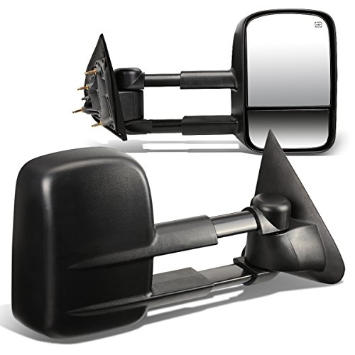 Silverado / Sierra GMT K2XX Pair of Black Powered + Heated Glass + Manual Extenable Side Towing Mirrors