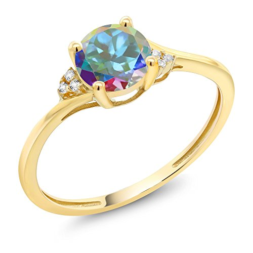 Mercury Topaz Set (10K Yellow Gold Diamond Accent Engagement Ring Set with 6mm 1.05 Ct Mercury Mist Mystic Topaz (Ring Size 6))