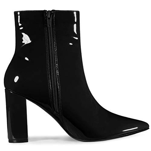 Allegra K Women's Chunky Heel Pointed Toe Zipper Ankle Boots