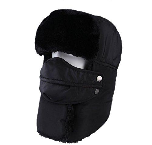 YueLian Unisex Invierno Protección del Cuello Cara Resistir el Frío Montar en Bicicleta Mascarilla Bufanda Lei Feng Sombrero Negro