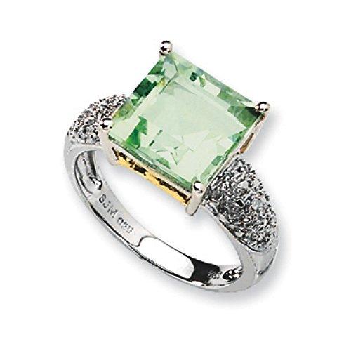 """Argent 925/1000 et améthyste verte et rêches 14 carats-Diamant - 2 x 10 mm JewelryWeb - 6 """"-"""