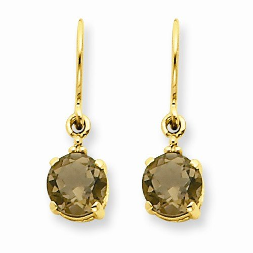 Solid 14k Yellow Gold Brown Simulated Smokey Quartz & Diamond Dangle Earrings (.01 cttw.) (20mm x 5mm)