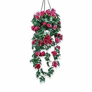 XHSP Artificial Rose Vine Silk Flower Garland Hanging Basket Decorative Plant Home Outdoor Wedding Arch Garden Wall Decor 4