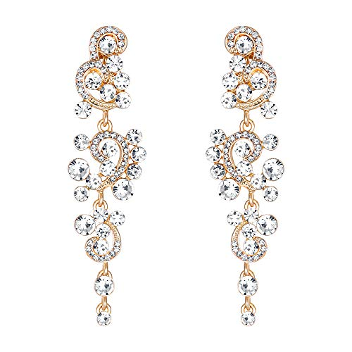 BriLove Wedding Bridal Clip On Earrings for Women Bohemian Boho Crystal Floral Vine Chandelier Hollow Dangle Earrings Clear ()