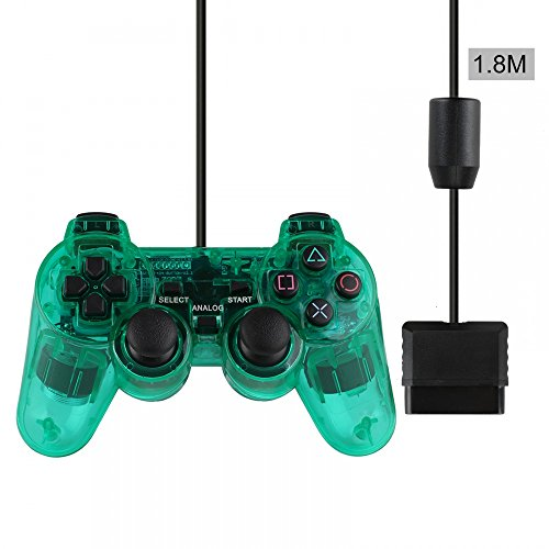 PS2 Wired Controller, Double Shock Dual Vibration Twin Shock Gamepad for Sony Playstation 2, Green