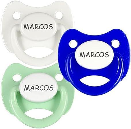 Pack 3 chupetes personalizados con el nombre de Marcos: Amazon.es ...
