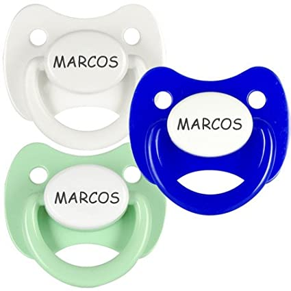 Pack 3 chupetes personalizados con el nombre de Marcos: Amazon.es: Bebé
