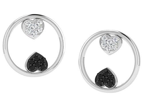 Libertini Boucle d'oreille argent 925 plaque or Rose serti de Diamant en forme de Rond