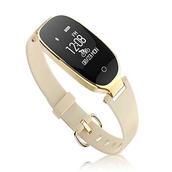 SLGJYY S3 Tensiómetro de Pulso Reloj Mujer Salud Resistente al Agua Bluetooth Llevar Podómetro Pulsera, Color Beige: Amazon.es: Deportes y aire libre