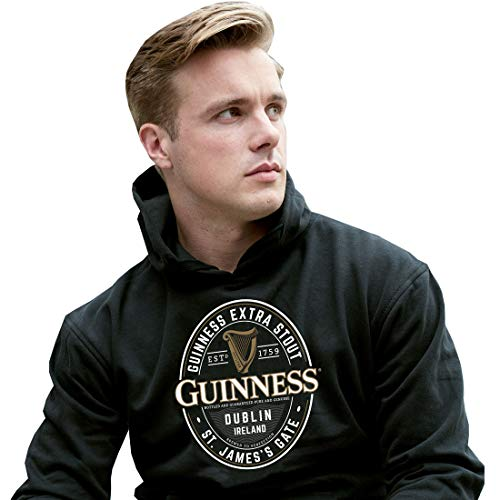 Guinness Pullover Hoodie With Large Brewed In Dublin Label, Black Colour (Guinness Beer Hoodie)