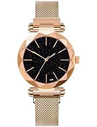 Relógio de pulso feminino de quartzo redondo com pulseira magnética de strass e céu estrelado por relógios (ouro)