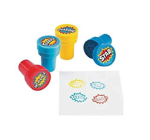 Fun Express Plastic Superhero Stampers - 24 Pieces -