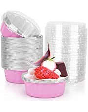Disposable Ramekins with Lids, Beasea 8 oz 50 Pack 4 Inch Aluminum Foil Cups Disposable Creme Brulee Muffin Cupcake Baking Cup Mini Pudding Cups for Party Wedding Birthday