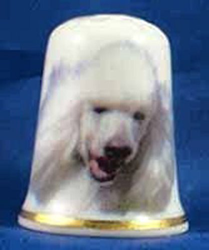 Porcelain China Collectable Thimble --- White Poodle Dog