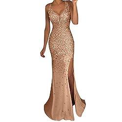 Women Long Sequin V Neck Dress