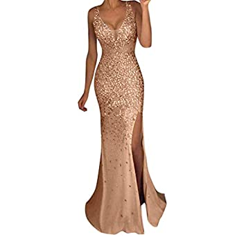 c98b6a8e96 Wintialy 2018 Women Sequin Prom Party Ball Gown Sexy Gold Evening ...