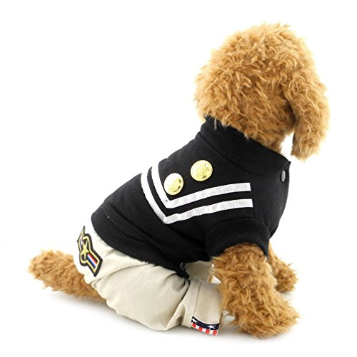 (SMALLLEE_LUCKY_STORE Outfits Doggie Fashion Uniform for Boy Pet Jumpsuit Stripe T-Shirts, Medium, Black)