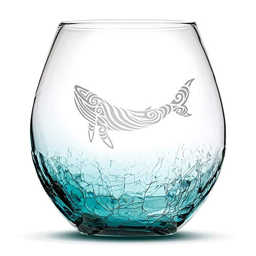 Integrity Bottles Premium Whale Stemless Wine Glass, Crackle Teal, Handblown, Tribal Design, Hand Etched Gifts, Sand Carved