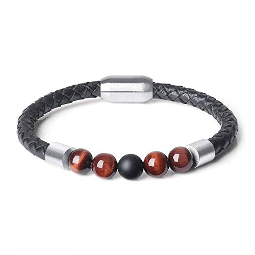 CUTEDAY QIDISI Charm Men Leather Stainless Bracelet Lava Chakra Tiger Eye Howlite Stone Beads Bracelets & Bangles for Men Red Black Red from CUTEDAY