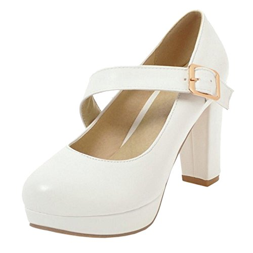 Heel Elegant High Women White Pumps KemeKiss qRTSptx1