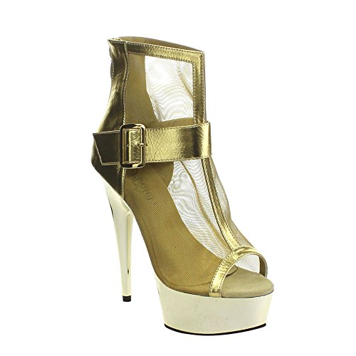 Pleaser Delight-600-23, Sexy Plateau High Heels Stiefeletten, Matt-Schwarz 35-41 Gold Metallic Pu-Mesh/Gold Chrome