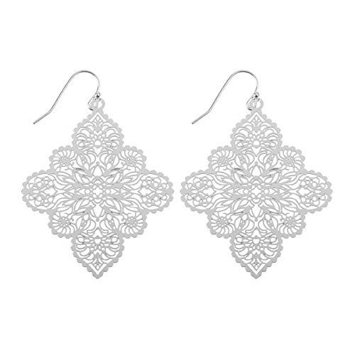 RIAH FASHION Moroccan Filigree Geometric Drop Earrings - Bohemian Metallic Cutout Hook Lightweight Dangles Flower Petal Leaf/Teardrop/Scallop/Circle/Quatrefoil (Moroccan Quatrefoil - Silver)