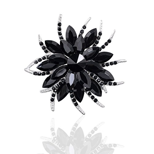 TAGOO Blooming Flowers Angel Tear Brooch Pin Corsage Scarf Clip in Crystal Unisex for Women&Men Banquet Wedding Casual Dailywear (black)