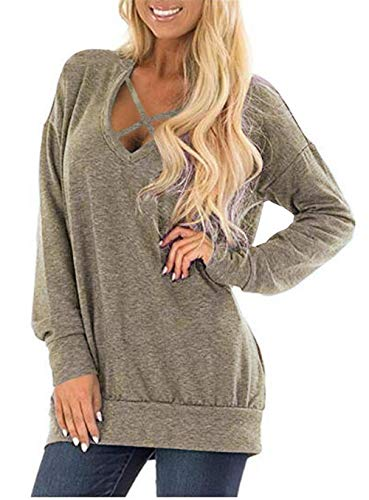 Kool Classic Women's Long Sleeve Criss Cross Casual Loose Knit Pullover Sweatershirt Khaki S ()