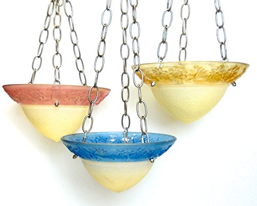 Set of 3 vintage glass bird feeders with rose blue & gold (Gold Feeder)