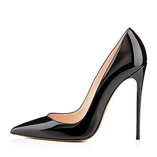 MIUINCY Closed High for Dress Shoes Pumps Patent Pointed Toe Stiletto Black Wedding Leather Party Women Heels UqwrYq