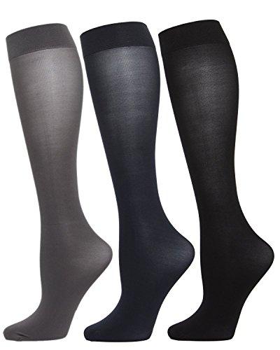 Nylon Womens Hosiery - MeMoi Solid 3 Pair Microfiber Trouser Socks Gray/Navy/Black MJT 1003 One Size