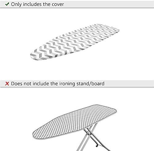 Padwspro Ironing Board Cover, Fits Boards Up to 140x45cm, Scorch Resistant, with 4 clips, Easy-Tie Drawstring, Large,Compatible Ironing Board Cover,Striped blue