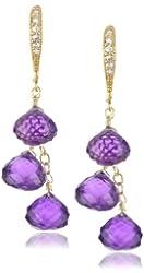 Mary Louise Three Stone Amethyst Earrings
