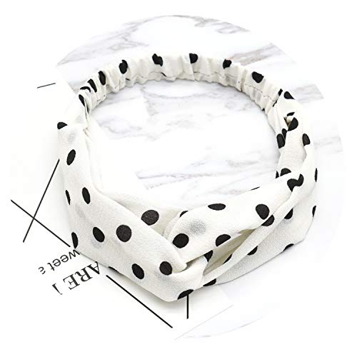 Women Suede Headband Bohemian Vintage Cross Knot Elastic Hairband Girls Hair Accessories,Dot White