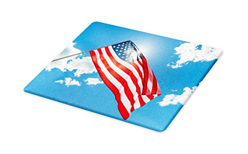 Lunarable 4th of July Cutting Board, Flag of United States of America Waving in Clear Blue Sky, Decorative Tempered Glass Cutting and Serving Board, Small Size, Blue Red and -