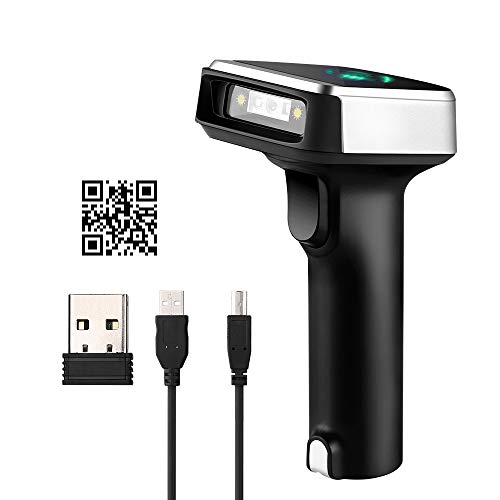 Eyoyo 1D 2D QR Bluetooth Barcode Scanner, 3-in-1 Bluetooth & 2.4GHz Wireless & Wired Connection, CCD PDF417 Data Matrix Bar Code Reader for iPad, iPhone, Android Phones,Tablets or Windows Mac Computer