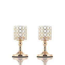 Gold Cylinder Crystal Tea Light Candle Holders