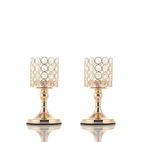 VINCIGANT Gold/Silver 8 and 10 Inches Cylinder Ball Crystal Candle Holders Set of 2