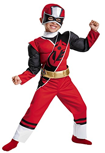 UHC Boy's Red Ranger Ninja Steel Outfit Toddler Child Hallowee Fancy Costume, Toddler M (3-4T) (Boot Ranger Red Covers)
