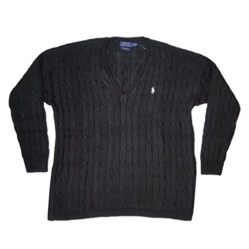 Polo Ralph Lauren Womens Pima Cotton Cable Knit V-Neck Sweater (L, Polo Black) Pima Cotton Cable
